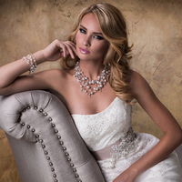 Wedding Dresses, A-line Wedding Dresses, Fashion, Strapless, Strapless Wedding Dresses, A-line, Tulle, Maggie Sottero, Organza, crystal beading, organza wedding dresses, grosgrain ribbon belt, tulle wedding dresses