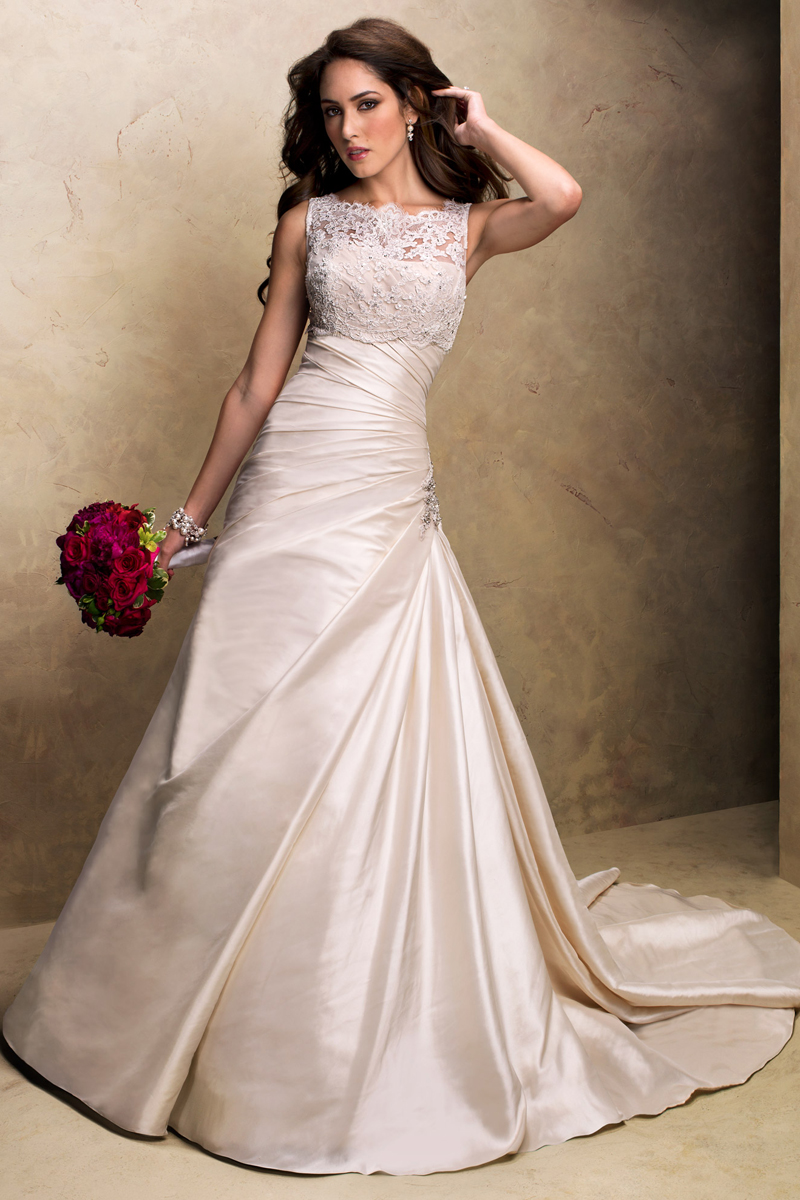 Wedding Dresses, A-line Wedding Dresses, Fashion, A-line, Maggie Sottero, Satin, Sleeveless, illusion neckline, illusion straps, Asymmetrical ruching, satin wedding dresses