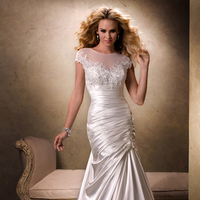 Wedding Dresses, Sweetheart Wedding Dresses, Fashion, Sweetheart, Cap sleeves, Beading, Fit and flare, Scoop neck, Maggie Sottero, Satin, illusion neckline, ruched bodice, Beaded Wedding Dresses, satin wedding dresses