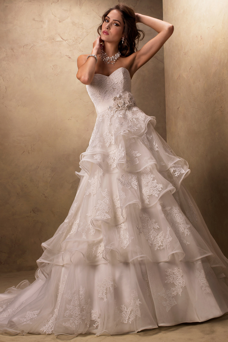 Wedding Dresses, Sweetheart Wedding Dresses, Lace Wedding Dresses, Fashion, Lace, Sweetheart, Strapless, Strapless Wedding Dresses, Tulle, Maggie Sottero, Organza, layered skirt, tiered skirt, organza wedding dresses, handmade flowers, crystal detail, grosgrain ribbon belt, tulle wedding dresses