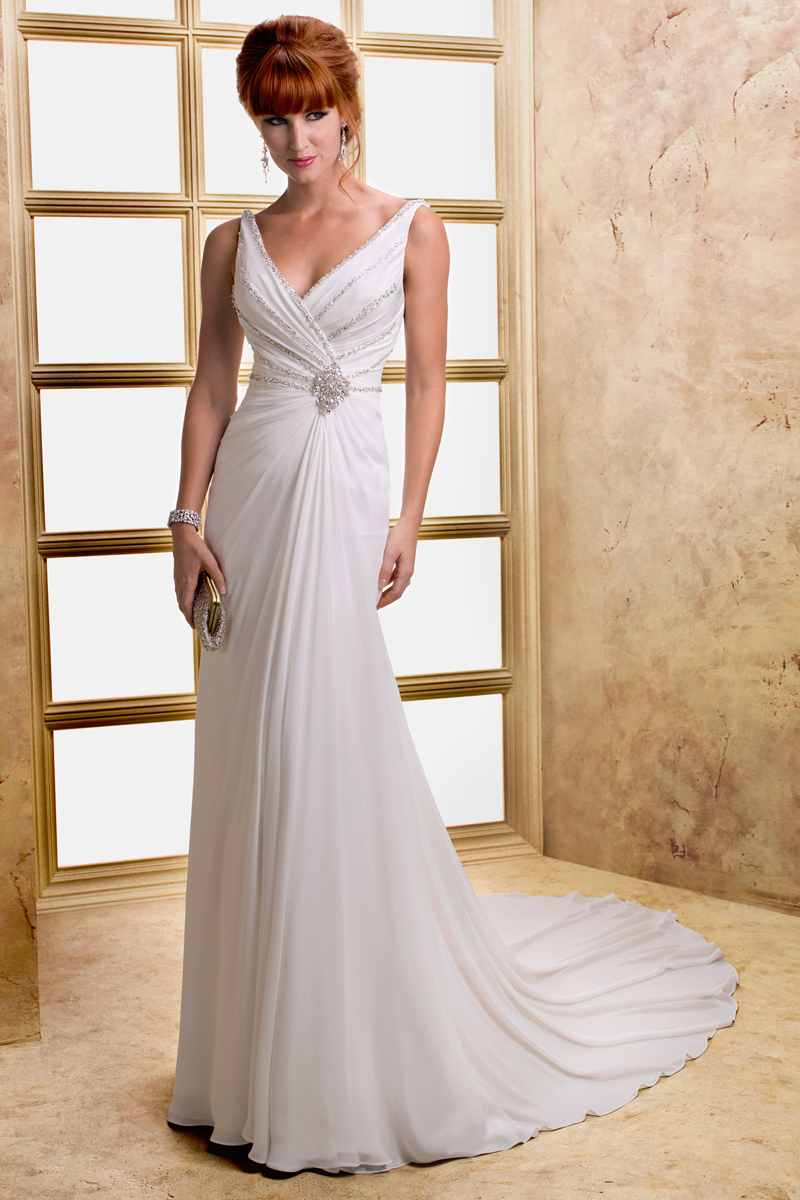 Wedding Dresses, Fashion, V-neck, V-neck Wedding Dresses, Sheath, Maggie Sottero, Sleeveless, cross-ruced bodice, crystal motif, Sheath Wedding Dresses