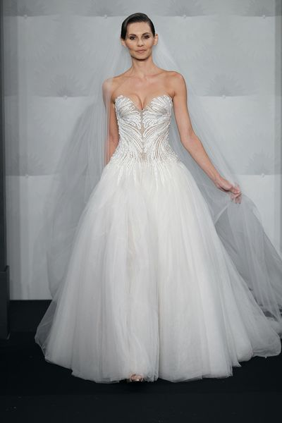 Wedding Dresses, Sweetheart Wedding Dresses, A-line Wedding Dresses, Ball Gown Wedding Dresses, Fashion, Sweetheart, Strapless, Strapless Wedding Dresses, A-line, Natural waist, Tulle, Ball gown, Mark zunino, beaded embroidery, cathedral train, sheer bodice, tulle wedding dresses