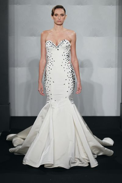 Wedding Dresses, Sweetheart Wedding Dresses, Fashion, Mermaid, Sweetheart, Strapless, Strapless Wedding Dresses, Silk, Mark zunino, chapel train, dropped waist, black beads, Silk Wedding Dresses