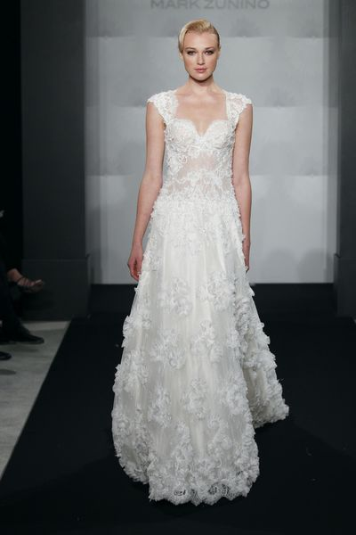 Wedding Dresses, Sweetheart Wedding Dresses, A-line Wedding Dresses, Fashion, Sweetheart, A-line, Cap sleeves, Silk chiffon, Mark zunino, illusion sleeves, chantilly lace
