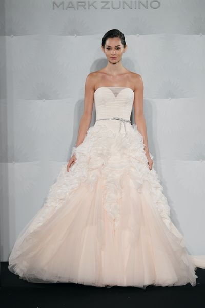 Wedding Dresses, Sweetheart Wedding Dresses, Fashion, Sweetheart, Strapless, Strapless Wedding Dresses, Natural waist, Silk chiffon, Mark zunino, chapel train, illusion neckline, ruffled skirt, belted waist, silk organza