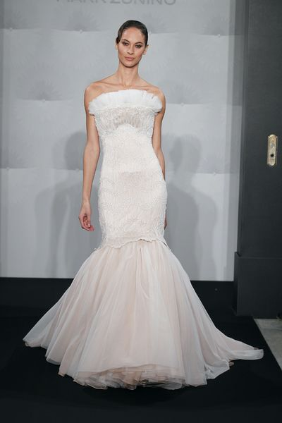 Wedding Dresses, Fashion, Mermaid, Strapless, Strapless Wedding Dresses, Mark zunino, dropped waist, pleated bust, sweep train, beaded lace, silk crepe