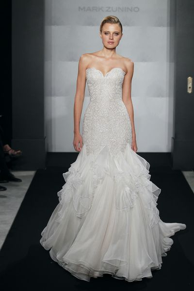 Wedding Dresses, Sweetheart Wedding Dresses, Fashion, Mermaid, Sweetheart, Strapless, Strapless Wedding Dresses, Silk chiffon, Mark zunino, chapel train, dropped waist, ruffled skirt, Beaded bodice, beaded embroidery