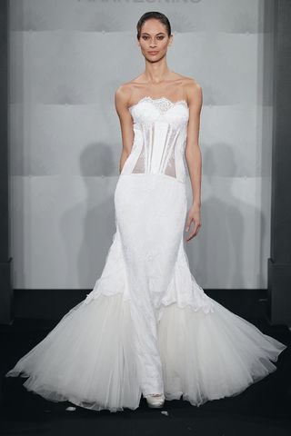 Wedding Dresses, Fashion, Mermaid, Strapless, Strapless Wedding Dresses, Mark zunino, chapel train, beaded lace, silk duchess satin, see-through bodice