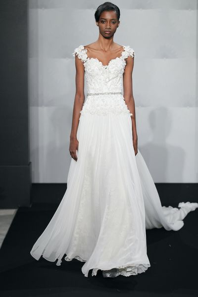 Wedding Dresses, A-line Wedding Dresses, Fashion, A-line, Cap sleeves, Natural waist, Mark zunino, chapel train, beaded waist, beaded lace, chantilly lace
