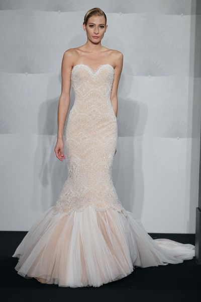 Wedding Dresses, Sweetheart Wedding Dresses, Fashion, Mermaid, Sweetheart, Strapless, Strapless Wedding Dresses, Beading, Mark zunino, chapel train, dropped waist, beaded lace, Beaded Wedding Dresses, silk crepe, two-tone
