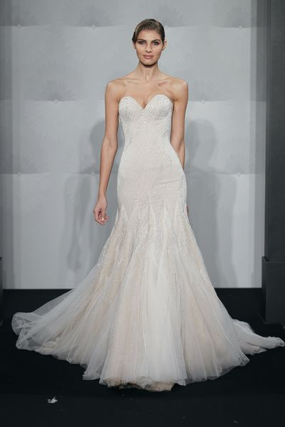 Wedding Dresses, Sweetheart Wedding Dresses, Fashion, Mermaid, Sweetheart, Strapless, Strapless Wedding Dresses, Beading, Silk chiffon, Mark zunino, chapel train, beaded embroidery, Beaded Wedding Dresses