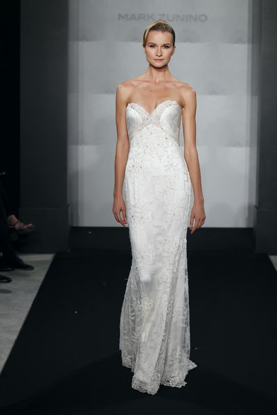 Wedding Dresses, Sweetheart Wedding Dresses, Fashion, Sweetheart, Beading, Sheath, Mark zunino, chapel train, empire waist, beaded lace, Beaded Wedding Dresses, silk charmeuse, Sheath Wedding Dresses