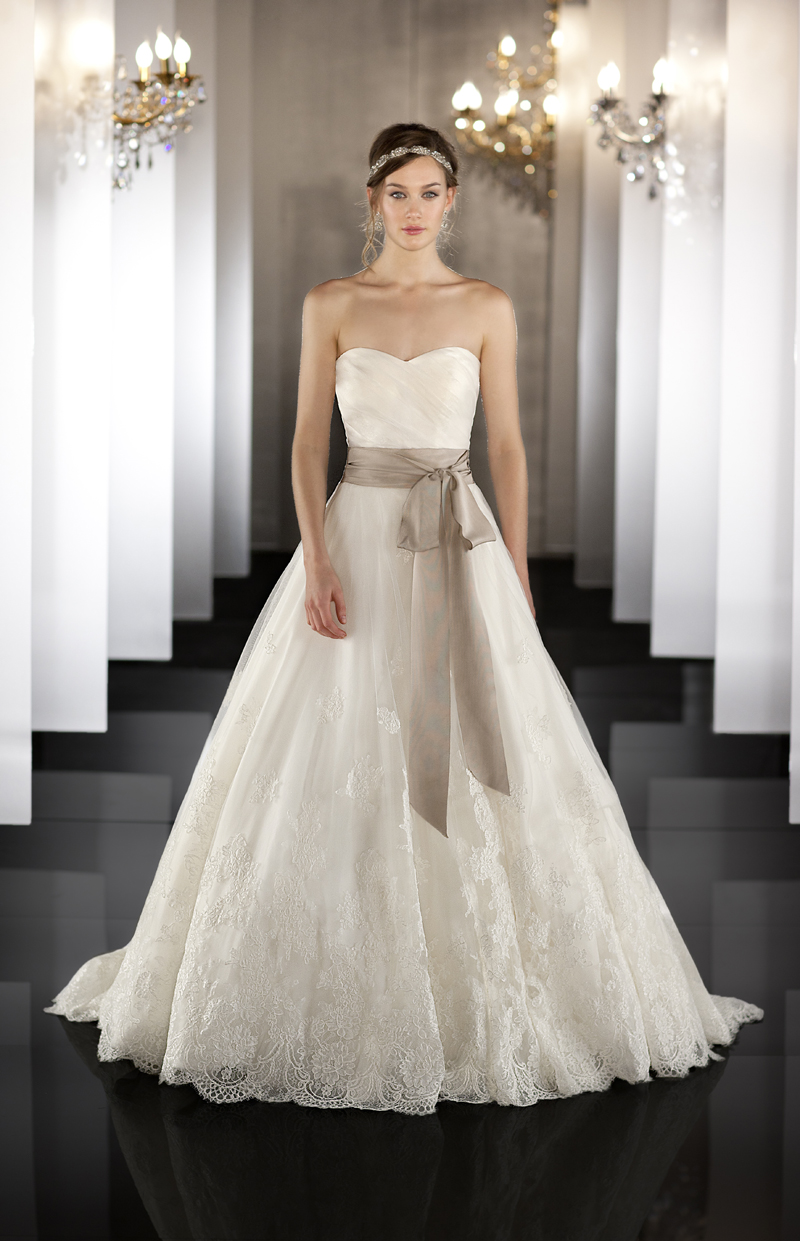 Silk Organza Wedding Ball Gown Features A Detachable Lace Jacket With Keyhole