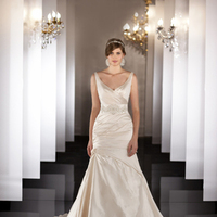 Wedding Dresses, V-neck, Silk, Martina Liana, chapel train, dropped waist, bridal fashion