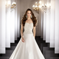 Wedding Dresses, Strapless, A-line, Pearl, Swarovski crystal, Martina Liana, chapel train, bridal fashion