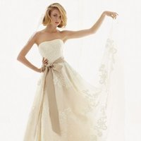 ivory, Vintage, Shabby Chic, Romantic, Lace, Strapless, A-line, Sash, Floor, Ball gown, melissa sweet for david's bridal