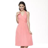 Bridesmaids Dresses, Fashion, pink, Halter, V-neck, Short, Chiffon, Ruching, Me Too! Bridesmaids