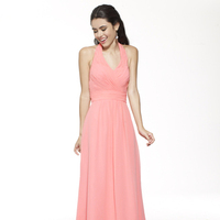 pink, A-line, Halter, V-neck, Floor, Chiffon, Ruching, Me Too! Bridesmaids