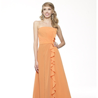 ivory, yellow, orange, pink, red, burgundy, purple, blue, green, gray, brown, black, Strapless, A-line, Floor, Chiffon, Ruffles, Ruching, Sash/Belt, Me Too! Bridesmaids