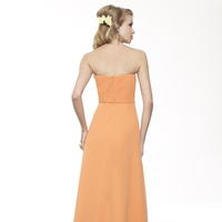 Bridesmaids Dresses, Fashion, orange, Strapless, A-line, Floor, Chiffon, Ruffles, Ruching, Sash/Belt, Me Too! Bridesmaids