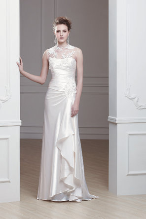 Wedding Dresses, Illusion Neckline Wedding Dresses, Lace Wedding Dresses, Fashion, ivory, Lace, Natural waist, Sheath, Satin, Chapel, Illusion, Sleeveless, Modeca, floor length, bateau, Bateau Wedding Dresses, satin wedding dresses, Sheath Wedding Dresses