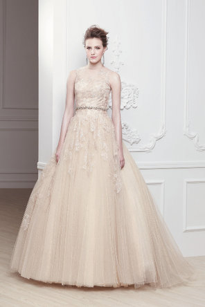 Wedding Dresses, A-line Wedding Dresses, Lace Wedding Dresses, Romantic Wedding Dresses, Fashion, Romantic, Lace, Champagne, A-line, Sleeveless, Modeca, chapel train, empire waist, floor length, bateau, Bateau Wedding Dresses