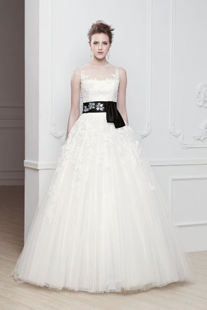 Wedding Dresses, Illusion Neckline Wedding Dresses, A-line Wedding Dresses, Fashion, A-line, Natural waist, Tulle, Ribbons, Sashes, Illusion, Sleeveless, Modeca, chapel train, floor length, bateau, Bateau Wedding Dresses, tulle wedding dresses