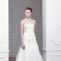 Wedding Dresses, A-line Wedding Dresses, Lace Wedding Dresses, Fashion, ivory, Train, Lace, Strapless, Strapless Wedding Dresses, A-line, Natural waist, Chapel, Sleeveless, Modeca, floor length