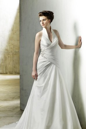 Wedding Dresses, A-line Wedding Dresses, Fashion, white, ivory, A-line, Beading, Halter, Glamorous, Applique, Formal, Taffeta, Sleeveless, Modeca, chapel train, dropped waist, floor length, halter wedding dresses, Beaded Wedding Dresses, taffeta wedding dresses, Formal Wedding Dresses