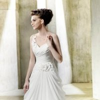 Modeca, Wedding Dresses, Fashion, A-line, Spaghetti straps, Natural waist, Applique, Embroidery, Romantic, Elegant, Formal, ivory, white, Sleeveless, Chapel, Chiffon, Spahetti Strap Wedding Dresses, Chiffon Wedding Dresses, Formal Wedding Dresses, Romantic Wedding Dresses, A-line Wedding Dresses