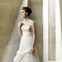 Wedding Dresses, A-line Wedding Dresses, Lace Wedding Dresses, Romantic Wedding Dresses, Fashion, Romantic, Lace, Champagne, Elegant, Strapless, Strapless Wedding Dresses, A-line, Beading, Tulle, Embroidery, Formal, Natural, Taffeta, Modeca, chapel train, Beaded Wedding Dresses, taffeta wedding dresses, tulle wedding dresses, Formal Wedding Dresses