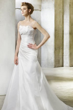 Wedding Dresses, Illusion Neckline Wedding Dresses, A-line Wedding Dresses, Fashion, Classic, Portrait, Elegant, A-line, Beading, Formal, Silk, Illusion, Sleeveless, Modeca, chapel train, dropped waist, Beaded Wedding Dresses, Classic Wedding Dresses, Formal Wedding Dresses, Silk Wedding Dresses