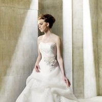 Wedding Dresses, Sweetheart Wedding Dresses, A-line Wedding Dresses, Fashion, Sweetheart, Strapless, Strapless Wedding Dresses, A-line, Ribbons, Sashes, Organza, Natural, Sleeveless, Modeca, Appliques, chapel train, floor length, organza wedding dresses