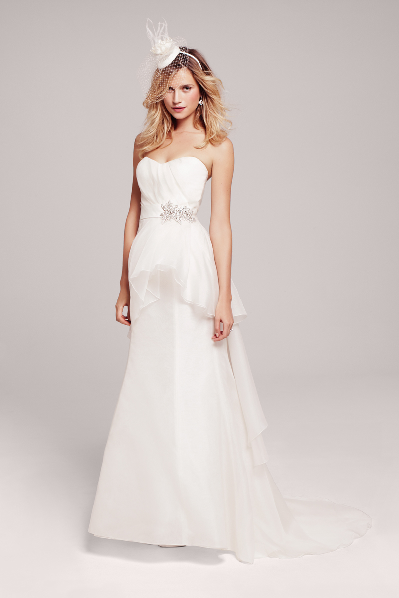 Wedding Dresses, Fashion, Gown, Chiffon, Jeweled belt, Feminine, Peplum, ruched bodice, Peplum Wedding Dresses, Nordstrom Wedding Suite, nouvelle amsale, Chiffon Wedding Dresses