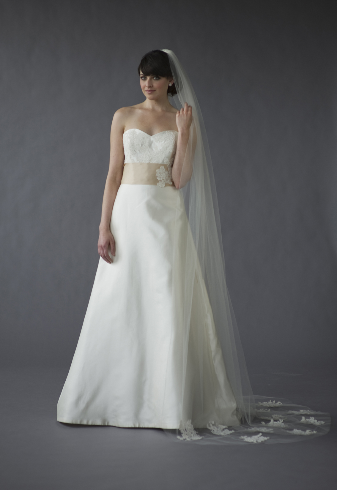 Wedding Dresses, Sweetheart Wedding Dresses, A-line Wedding Dresses, Lace Wedding Dresses, Romantic Wedding Dresses, Fashion, Train, Romantic, Lace, Sweetheart, Strapless, Strapless Wedding Dresses, A-line, Maddie, Caroline devillo, chapel train, a-line skirt, Nordstrom Wedding Suite, mikado silk