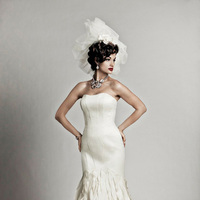 Wedding Dresses, Hollywood Glam Wedding Dresses, Fashion, Train, Strapless, Strapless Wedding Dresses, Buttons, Glamorous, Petals, Dahlia, Dramatic, Full skirt, chapel train, hollywood glam, trumpet skirt, Nordstrom Wedding Suite, matthew christopher, pieced bodice, covered buttons, back bodice