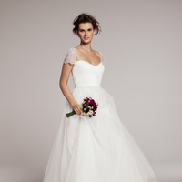 Wedding Dresses, Fashion, Cap sleeves, Tulle, Pearl, Sequin, Feminine, Embroidered, Full skirt, Nordstrom Wedding Suite, roses by reem acra, laural, sweetheart bodice, glamous, tulle wedding dresses