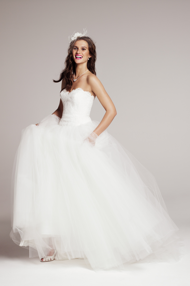 890013 this beautiful strapless theia ball gown features a for Wedding dresses with tulle skirts