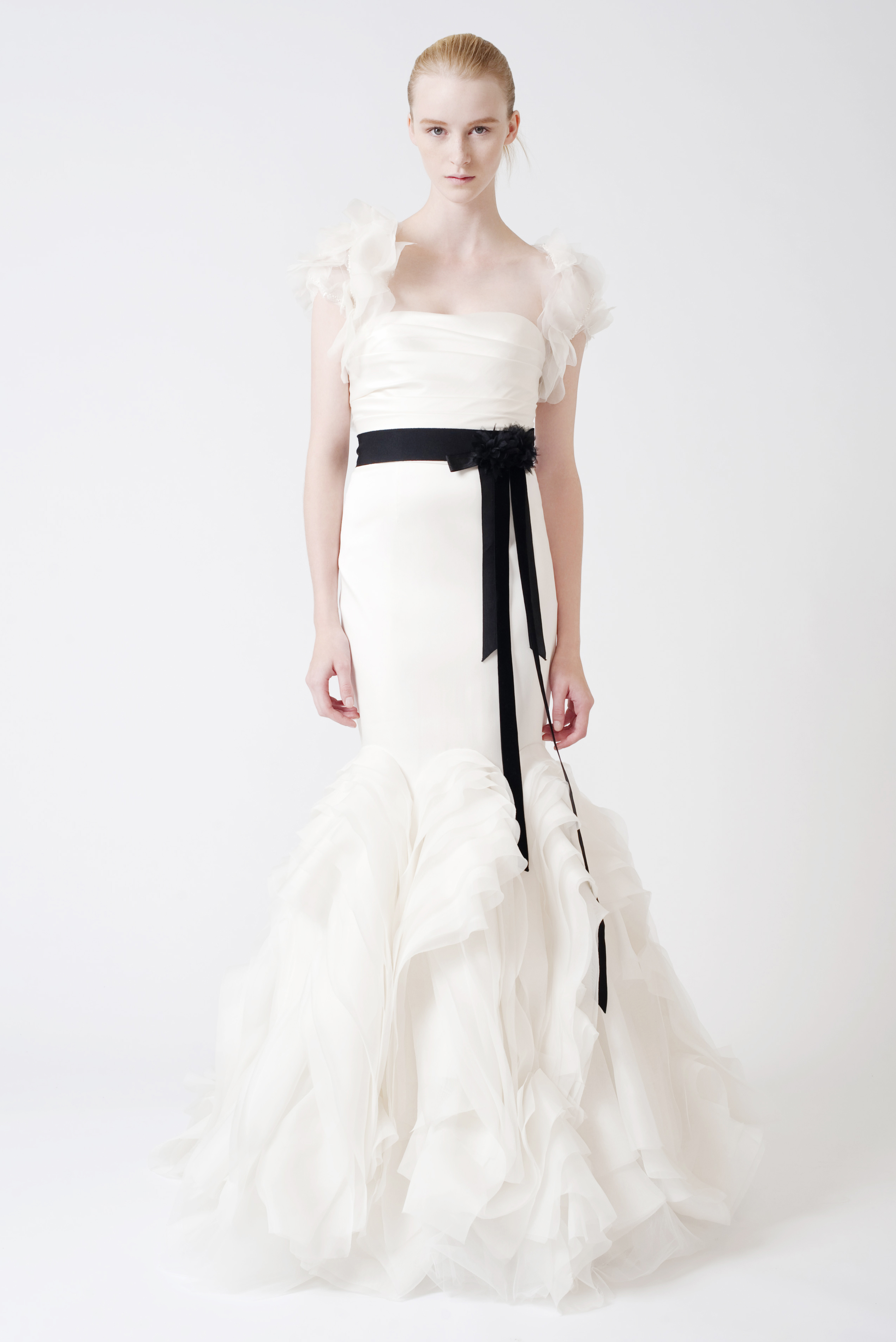 Ethel a stunning strapless vera wang stretch mikado for Wedding dress with red ribbon on waist