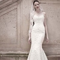 Sweetheart Wedding Dresses, Mermaid Wedding Dresses, Lace Wedding Dresses, Fashion, white, ivory, Classic, Lace, Sweetheart, Strapless, Strapless Wedding Dresses, Tulle, Floor, Wedding dress, Beaded, Oleg cassini, Mermaid/Trumpet, trumpet wedding dresses, Classic Wedding Dresses, Sleveless, tulle wedding dresses, Floor Wedding Dresses