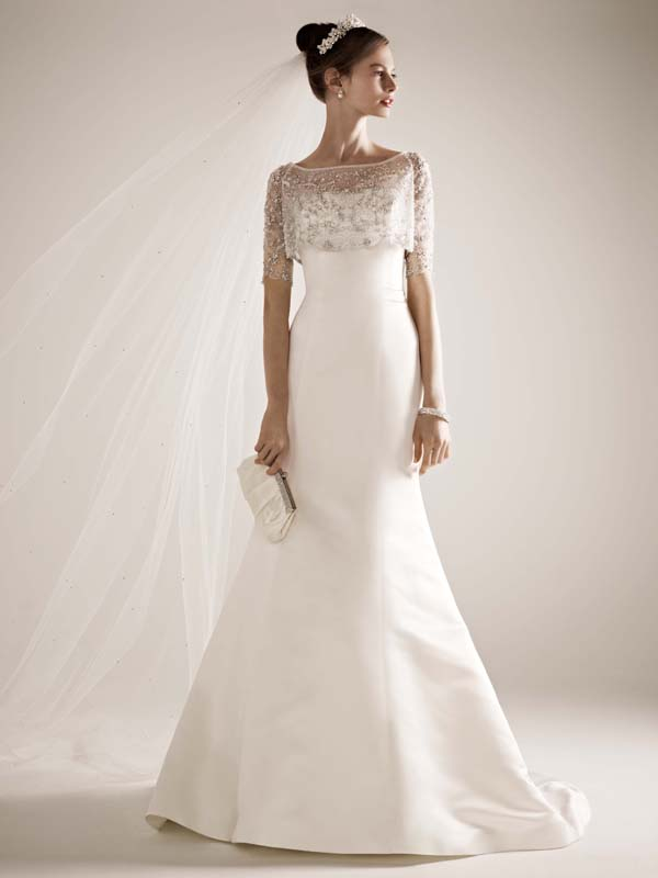 Mermaid Wedding Dresses, Fashion, Square, Strapless, Strapless Wedding Dresses, Satin, Wedding dress, Beaded, Oleg cassini, Mermaid/Trumpet, Jacket/Bolero, trumpet wedding dresses, Illusion Sleeveless, satin wedding dresses, Square Neckline Wedding Dresses