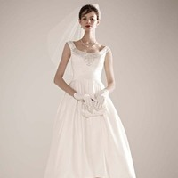 Ball Gown Wedding Dresses, Fashion, white, ivory, Classic, Off the shoulder, Beading, Satin, Wedding dress, Oleg cassini, Ball gown, High-low, pleating, Off the Shoulder Wedding Dresses, Beaded Wedding Dresses, Classic Wedding Dresses, high-low wedding dresses, satin wedding dresses