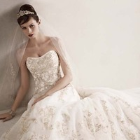 Ball Gown Wedding Dresses, Lace Wedding Dresses, Fashion, white, gold, Lace, Strapless, Strapless Wedding Dresses, Tulle, Floor, Wedding dress, Beaded, Oleg cassini, Ball gown, Sleveless, tulle wedding dresses, Floor Wedding Dresses