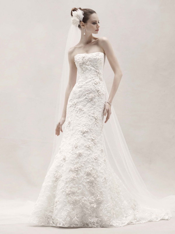 Mermaid Wedding Dresses, Lace Wedding Dresses, Romantic Wedding Dresses, Fashion, white, pink, Modern, Square, Flowers, Romantic, Lace, Strapless, Strapless Wedding Dresses, Wedding dress, Oleg cassini, Mermaid/Trumpet, Modern Wedding Dresses, trumpet wedding dresses, Sleveless, Flower Wedding Dresses, Square Neckline Wedding Dresses