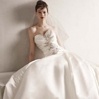 Ball Gown Wedding Dresses, Romantic Wedding Dresses, Hollywood Glam Wedding Dresses, Fashion, white, ivory, Classic, Flower, Romantic, Strapless, Strapless Wedding Dresses, Beading, Satin, Floor, Wedding dress, Dropped, Oleg cassini, Ruching, Ball gown, hollywood glam, Beaded Wedding Dresses, Classic Wedding Dresses, Sleveless, satin wedding dresses, Floor Wedding Dresses