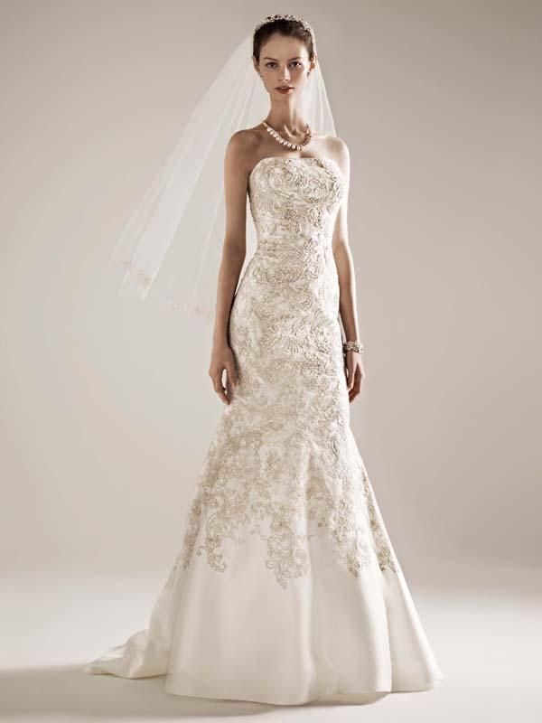 Sweetheart Wedding Dresses, Mermaid Wedding Dresses, Lace Wedding Dresses, Fashion, ivory, Square, Lace, Champagne, Sweetheart, Strapless, Strapless Wedding Dresses, Beading, Floor, Wedding dress, Oleg cassini, Fit-n-Flare, Beaded Wedding Dresses, Sleveless, Square Neckline Wedding Dresses, Floor Wedding Dresses