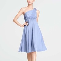 One-Shoulder Wedding Dresses, Beach Wedding Dresses, Fashion, blue, Beach, Flower, Bridesmaid, Empire, Short, Oleg cassini, One-shoulder, pleating, Short Wedding Dresses, sleevless, Chiffion