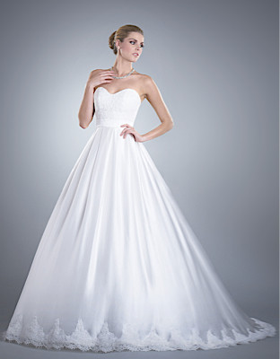 Wedding Dresses, Sweetheart Wedding Dresses, Ball Gown Wedding Dresses, Fashion, Classic, Sweetheart, Strapless, Strapless Wedding Dresses, Buttons, Ball gown, Olia zavozina, Classic Wedding Dresses, cathedral train, silk charmeuse, alencon lace, fitted bodice, v-shaped back