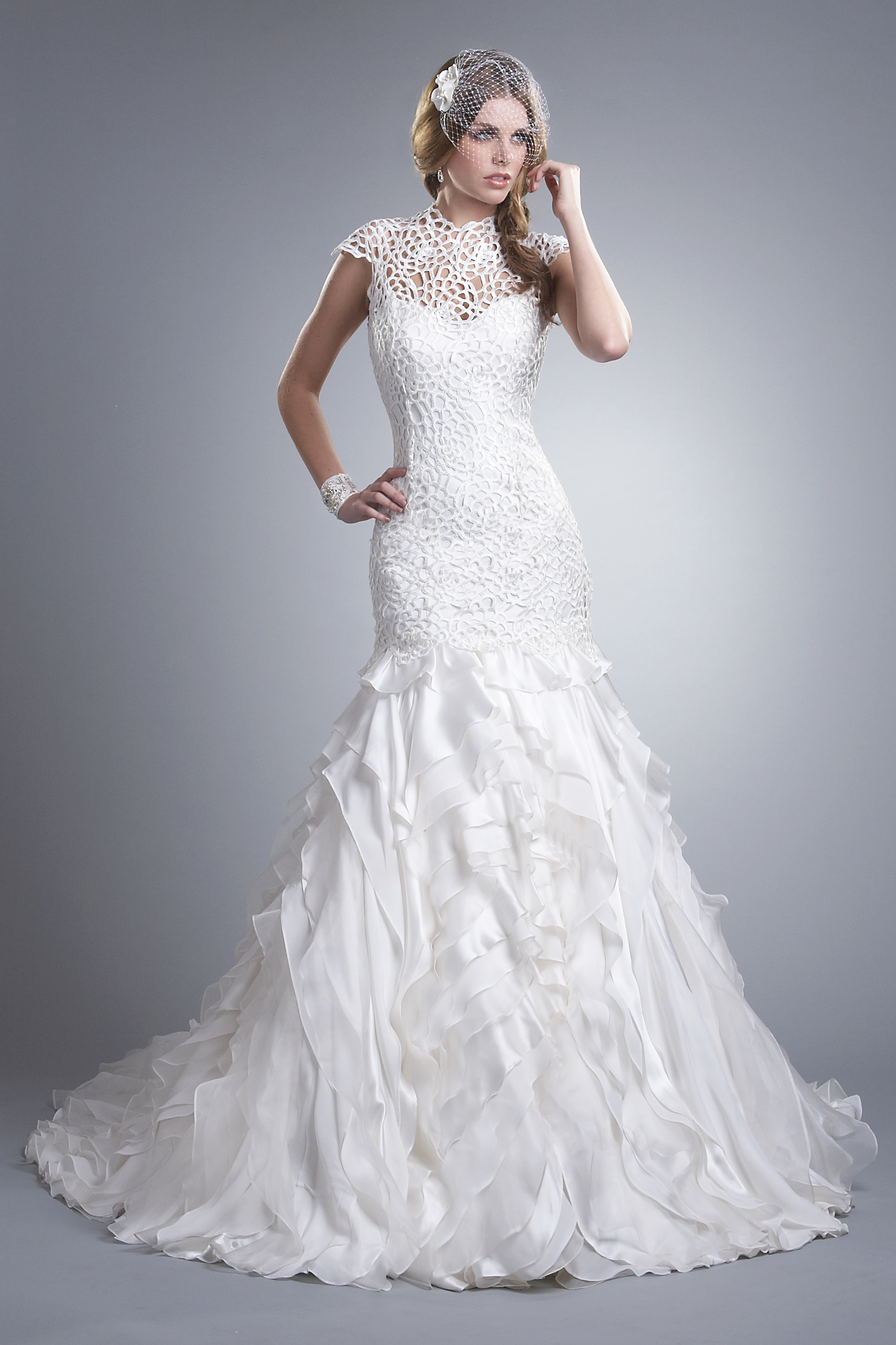 Anastasia is a perfect gown for both ceremony and for Silk organza wedding dress