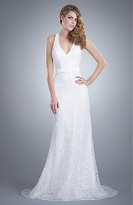 Wedding Dresses, Lace Wedding Dresses, Fashion, Gown, Train, Lace, Elegant, Halter, Olia zavozina, chapel train, V-neckline, halter wedding dresses, pearl detail, luxury lace